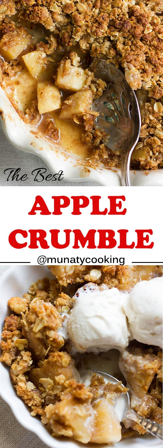 Apple Crumble Recipe. A delicious treat. Buttery and crunchy topping, with delicious filling of apples perfectly spiced with cinnamon and nutmeg. #dessert #recipe