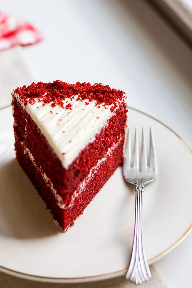 close up of red velvet cake slice.