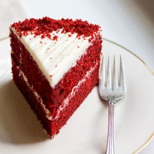 Red velvet cake feature image.
