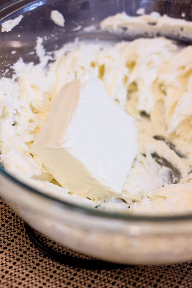 cream cheese is added to the butter sugar mixture.