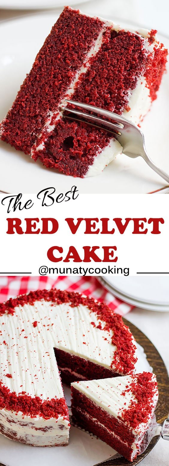 Red velvet cake recipe. A moist cake with butter flavor and you can taste a hint of chocolate too. No need for simple syrup here, this cake stays moist for more than three days.