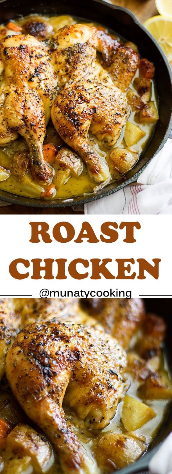 Roast Chicken recipe made in a skillet. Crispy from the outside and juicy tender from the inside, this roast chicken recipe will wow your family and will save your time.
