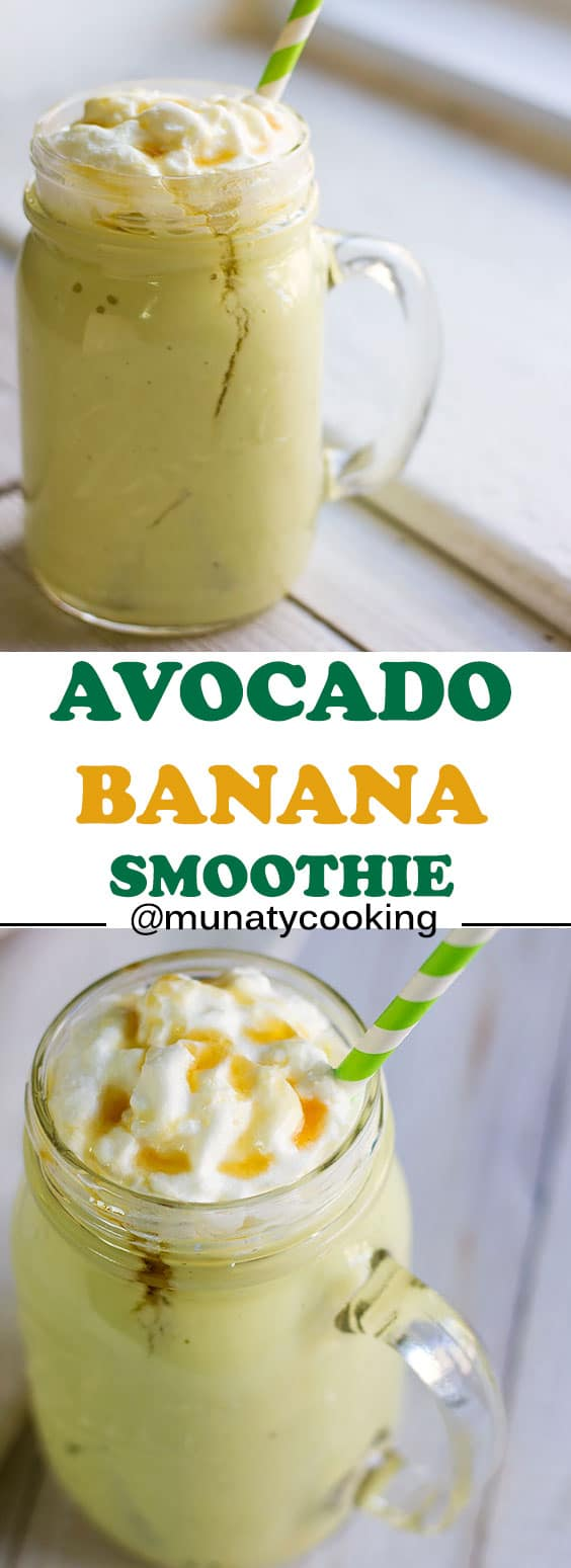 Avocado banana smoothie. A recipe for delicious and creamy smoothie that tastes like ice cream. Enjoy this smoothie all year long. Your kids will love it. #smoothie