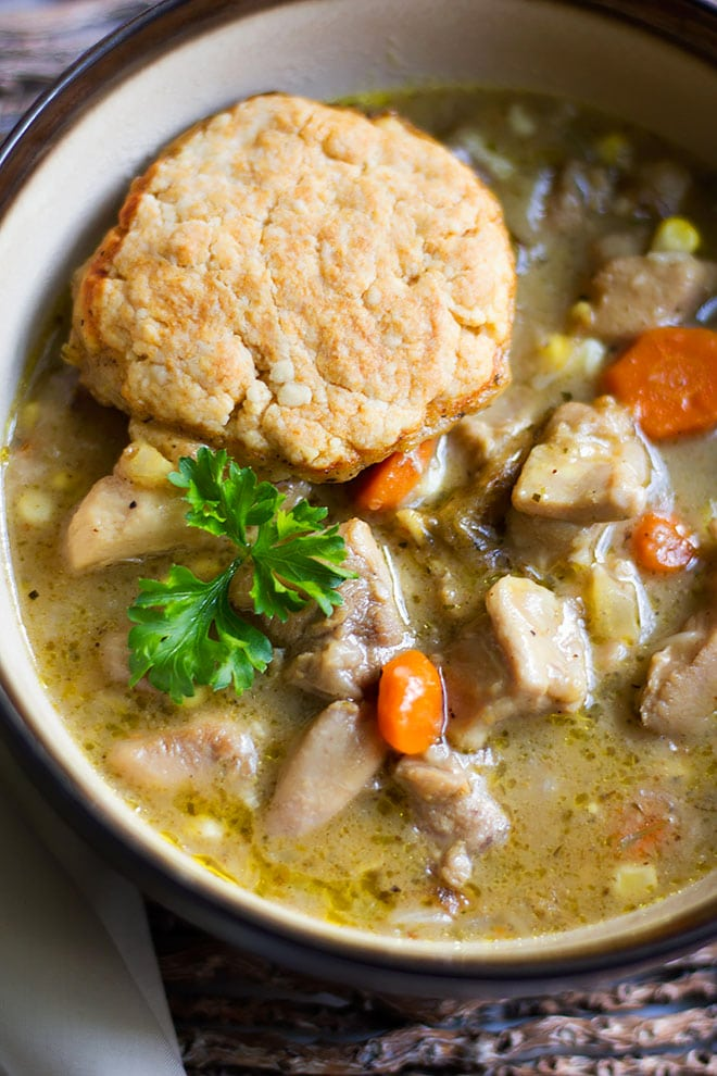 chicken and dumplings close up image.