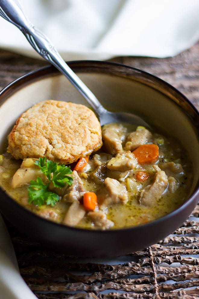 chicken and dumplings served in a bowl.