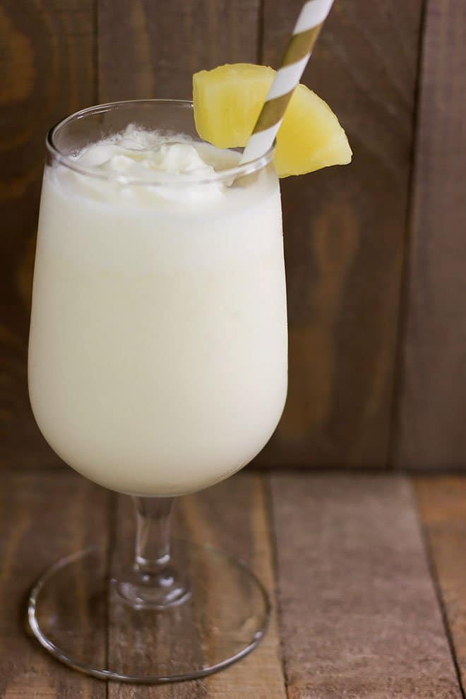 Chilled pina colada served and ready to be tasted.