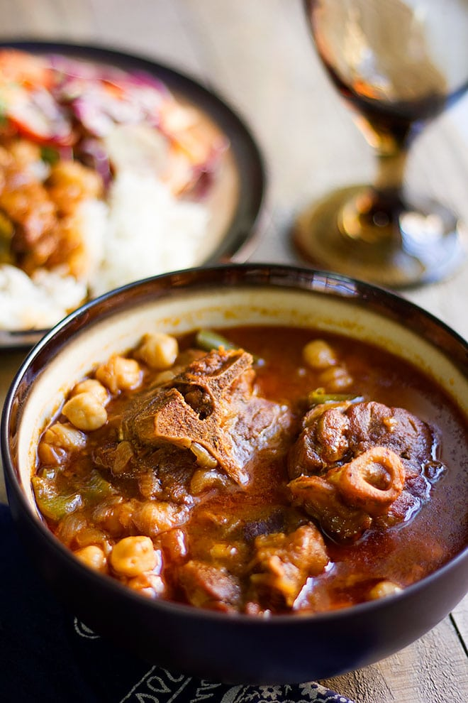 Tunisian lamb stew side shot.