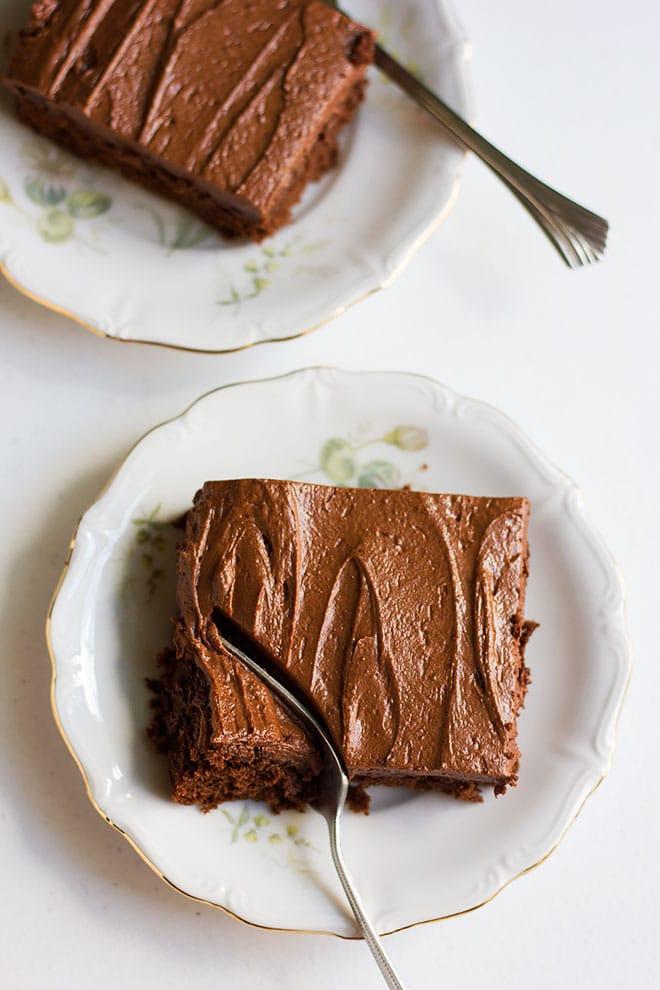 Chocolate cake slice served on a plate.