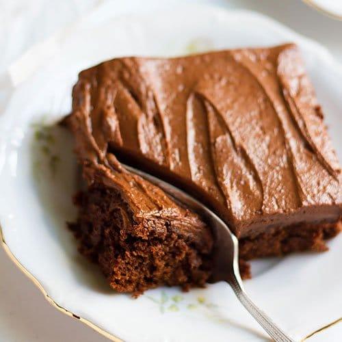 Chocolate cake recipe's feature image.