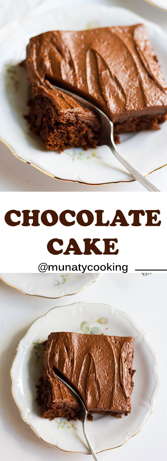 Chocolate cake recipe with fluffy to ingredient chocolate frosting. This moist fudge like cake can be used as a birthday and the kids will just love you for making it! #chocolatecake #chocolate #cake