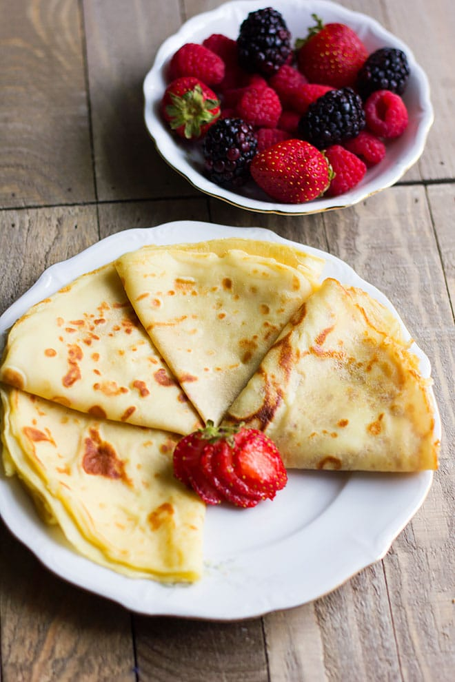 over head shot of crepes.
