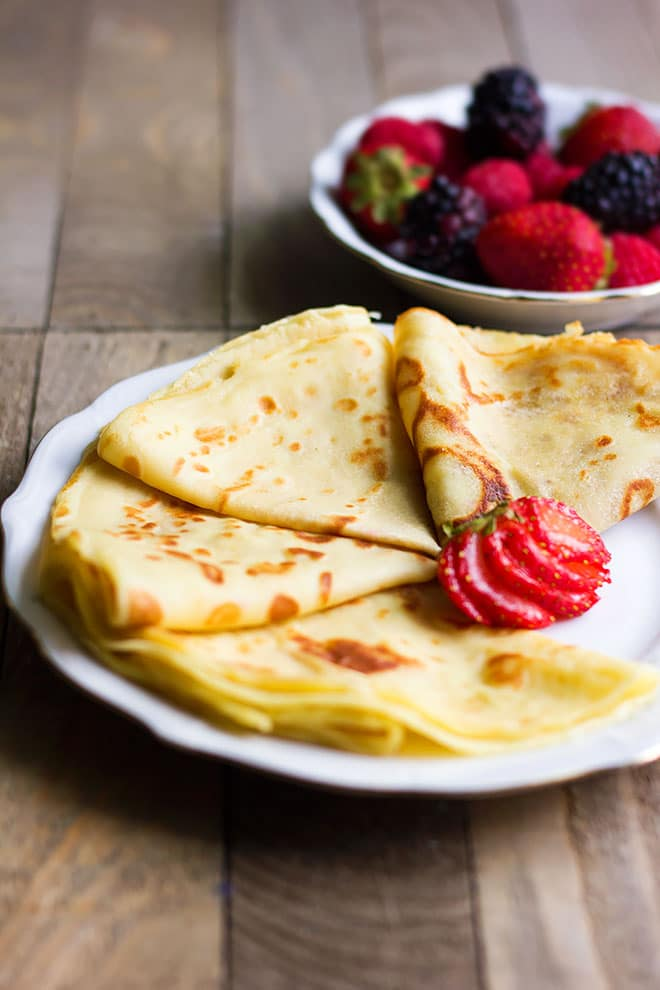 Side shot of French Crepes.
