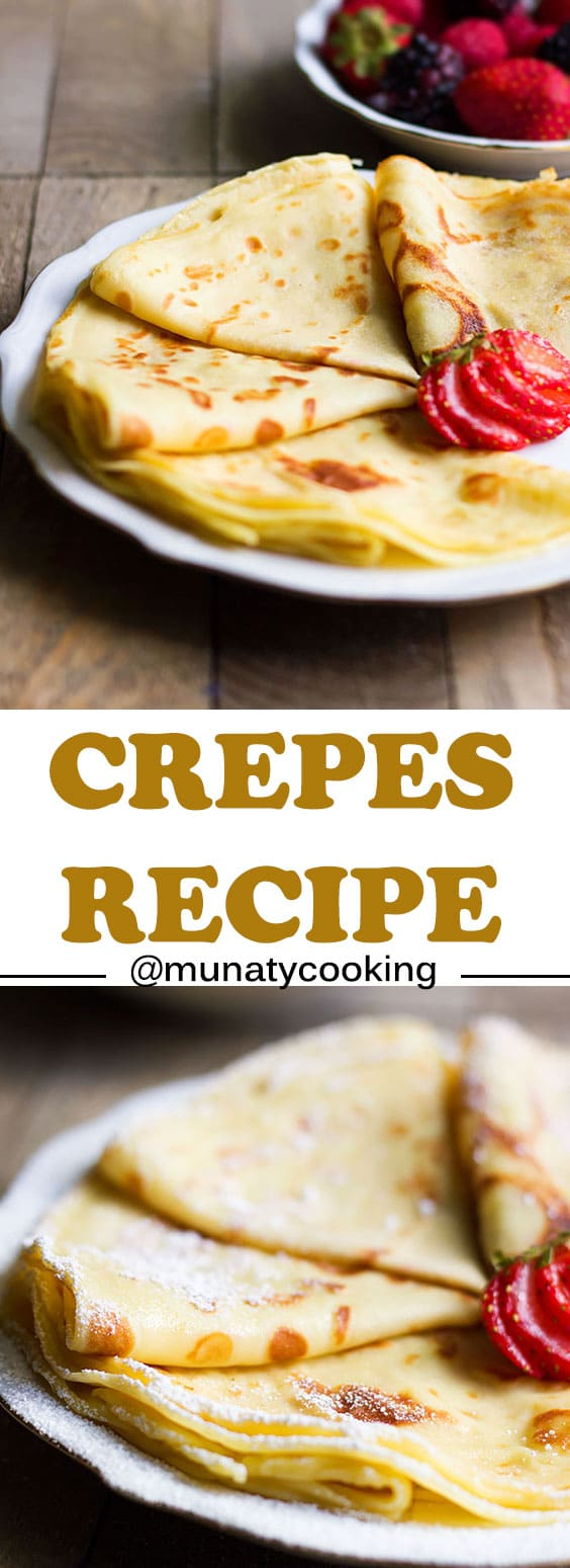 French Crepes Recipe. Delicate crepes recipe, this is a fail proof recipe and will always turn out great. Fill these crepes with chocolate, strawberry, or cream and honey. #crepes #french