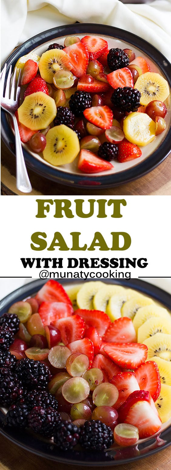 Fruit salad, a delicious salad with honey lime dressing. #salad #fruit
