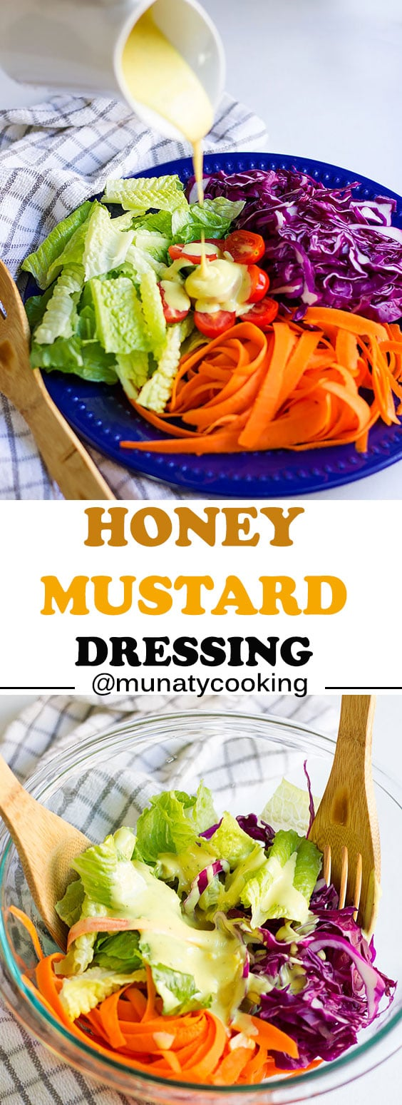 Honey mustard dressing recipe. Creamy dressing that is perfect with salads and chicken tenders. #salad dressing #honeymustard
