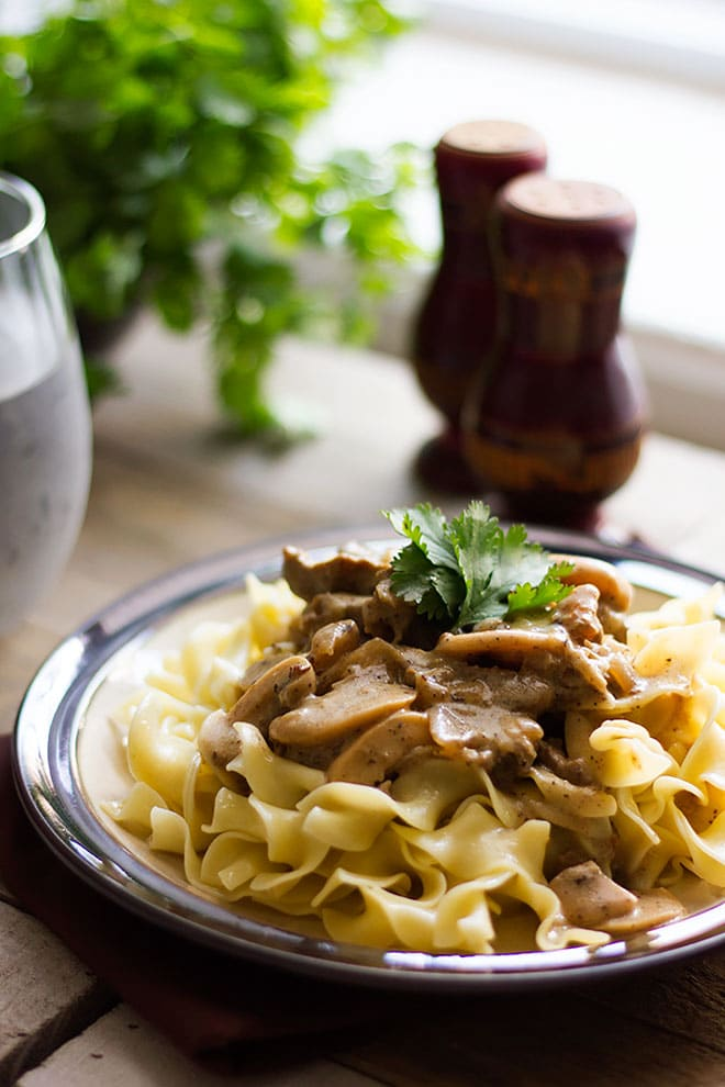 Side shot of beef stroganoff served over noodles.