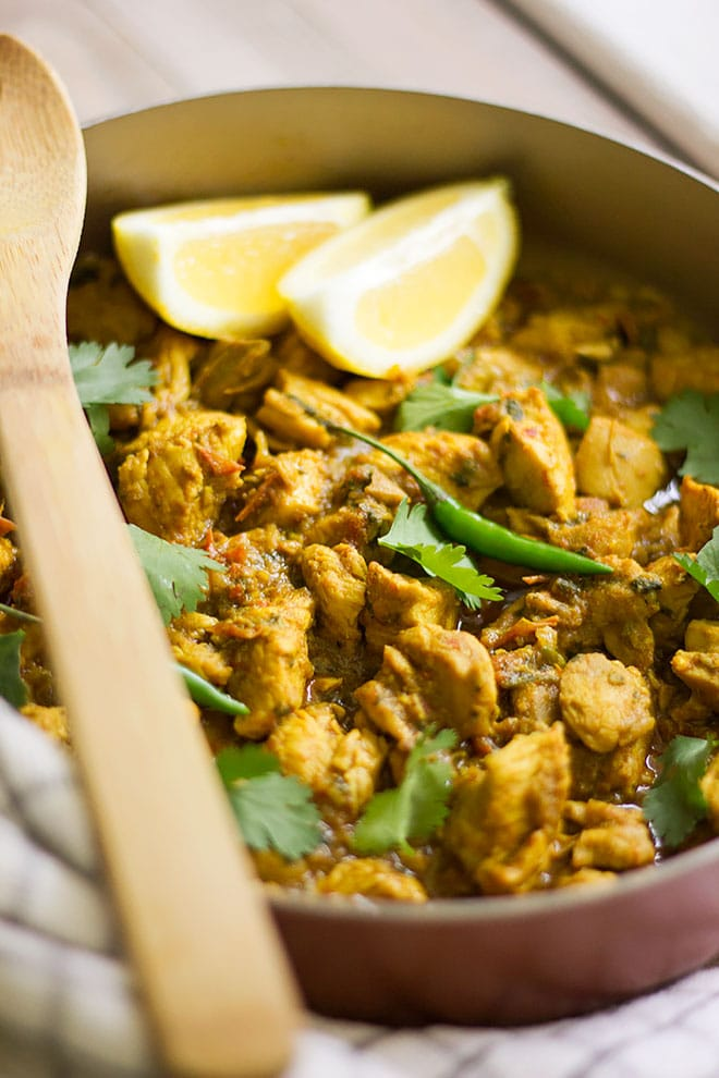 Chicken Karahi in a pan freshly cooked.