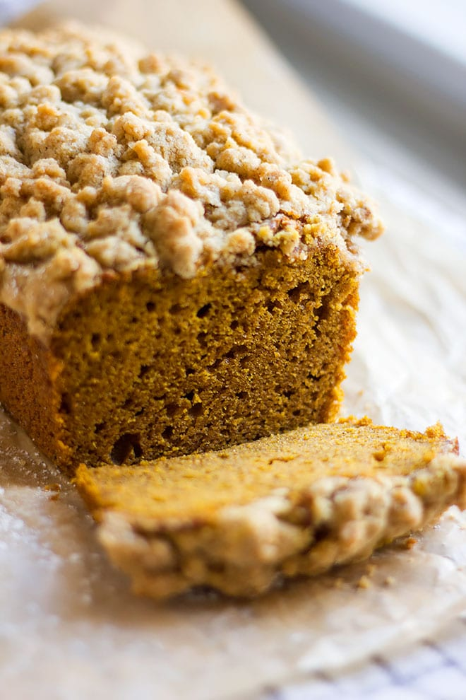 Close up shot of pumpkin crumb cake loaf.