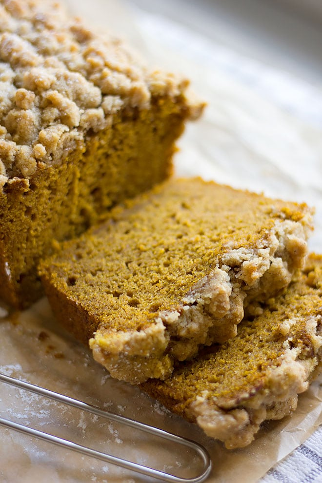 Slices of pumpkin crumb cake loaf.