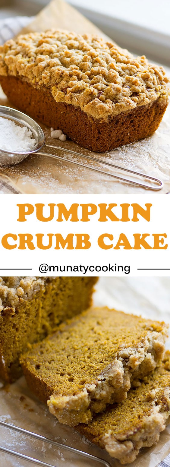 Pumpkin Crumb Cake, a recipe for moist and delicious pumpkin crumb cake, easy to make and is a crowd pleaser. Perfect gift for this season.