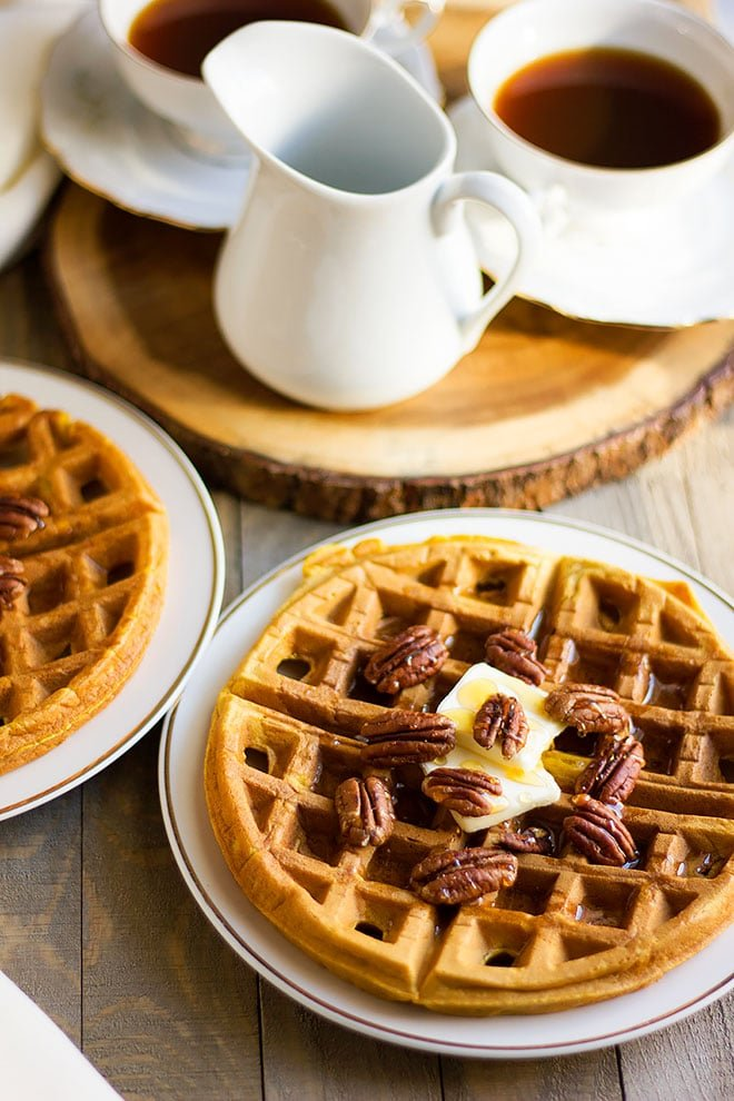 pumpkin waffles served for breakfast.