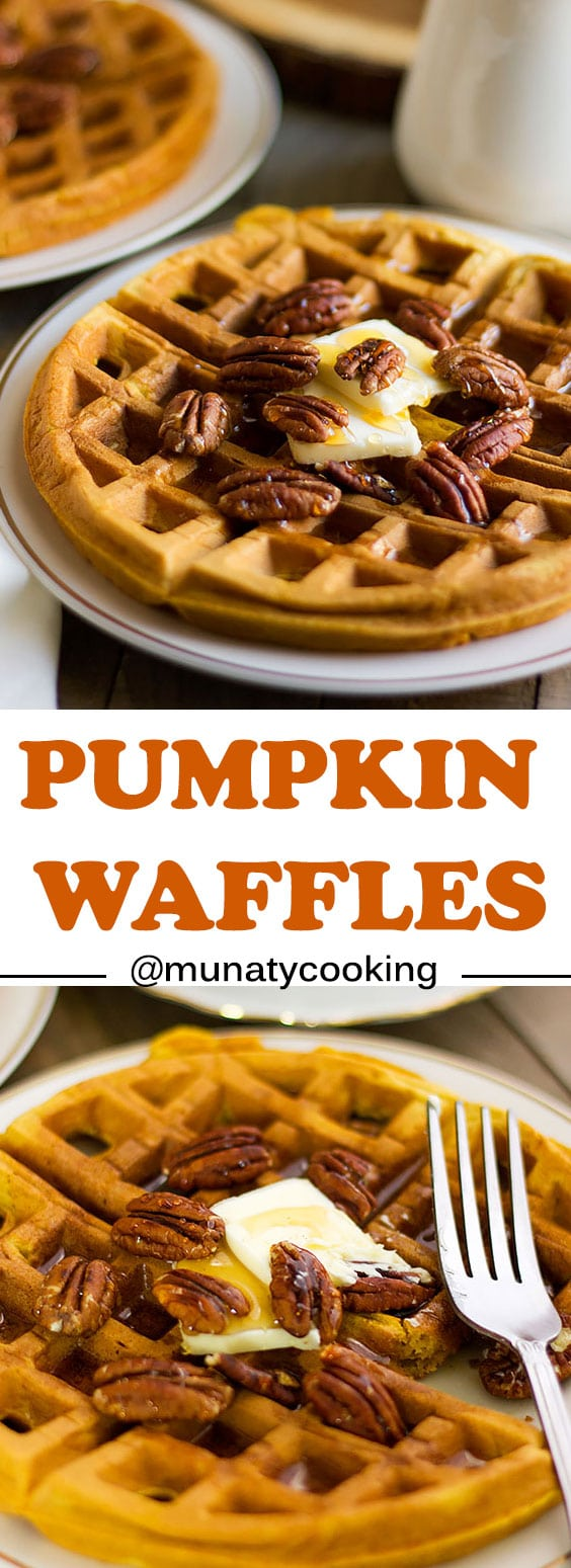Pumpkin waffles, delicious and light breakfast which can be converted to a fancy dessert if topped with ice cream and caramel. #waffles