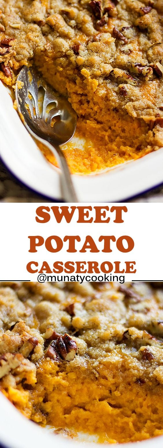 Sweet Potato Casserole Recipe. Easy to make recipe, you can bake or boil the sweet potato for this recipe and the outcome will always be great. @munatycooking #sweetpotato #casserole