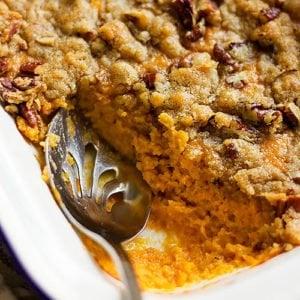 Feature image of sweet potato casserole recipe post.
