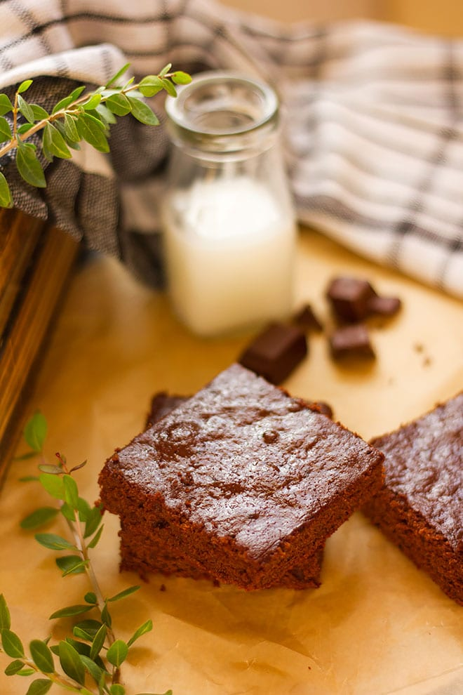 Delicious low calorie brownie served with milk on the side.