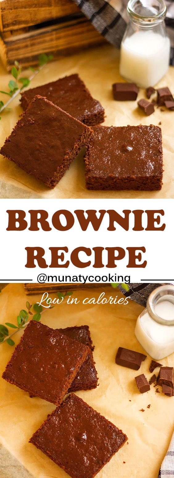 Easy Brownie recipe that happened to be low in calories too! There is a secret ingredient which you can find in the written recipe. #brownie #brownies