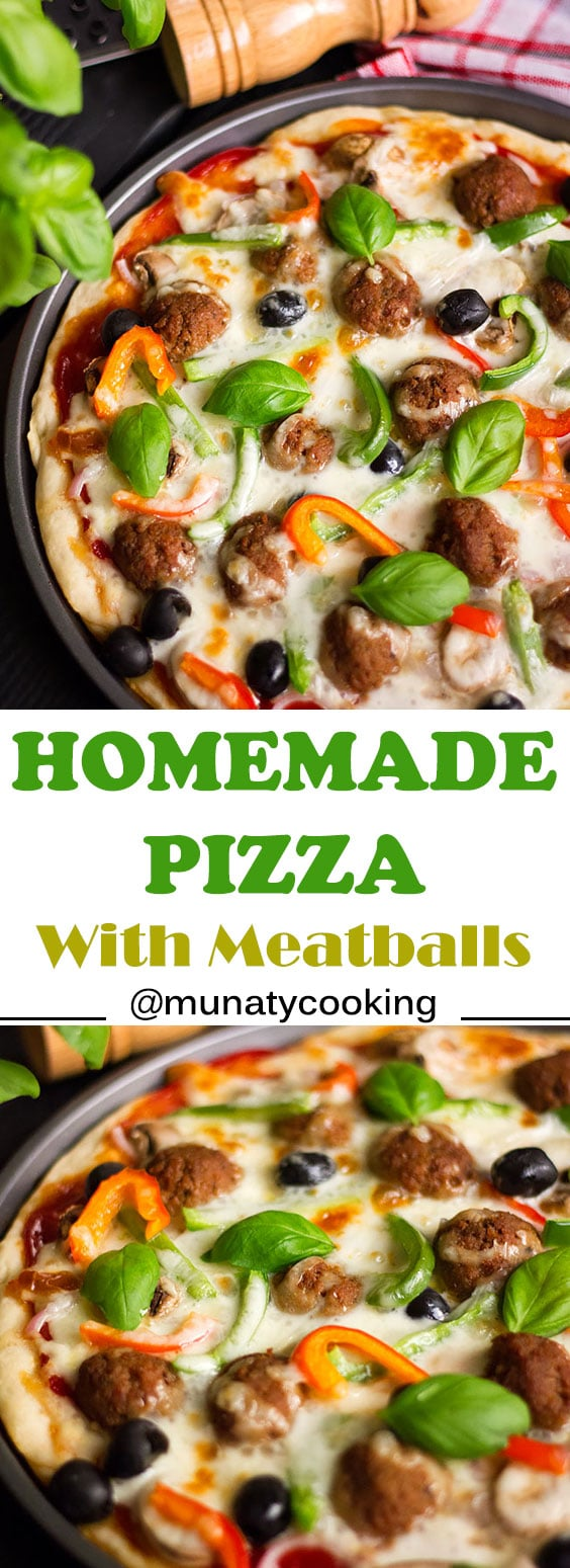 Homemade Pizza Recipe with meatballs. Juicy and perfectly seasoned meatballs on a tender pizza crust. #pizzarecipe #homemaderecipe #recipe