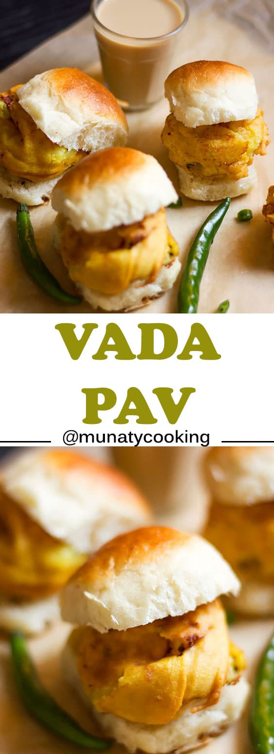Vada Pav, an Indian snack. made of bread roll which is filled with potato balls that were dipped in seasoned  gram flour batter and deep fried.