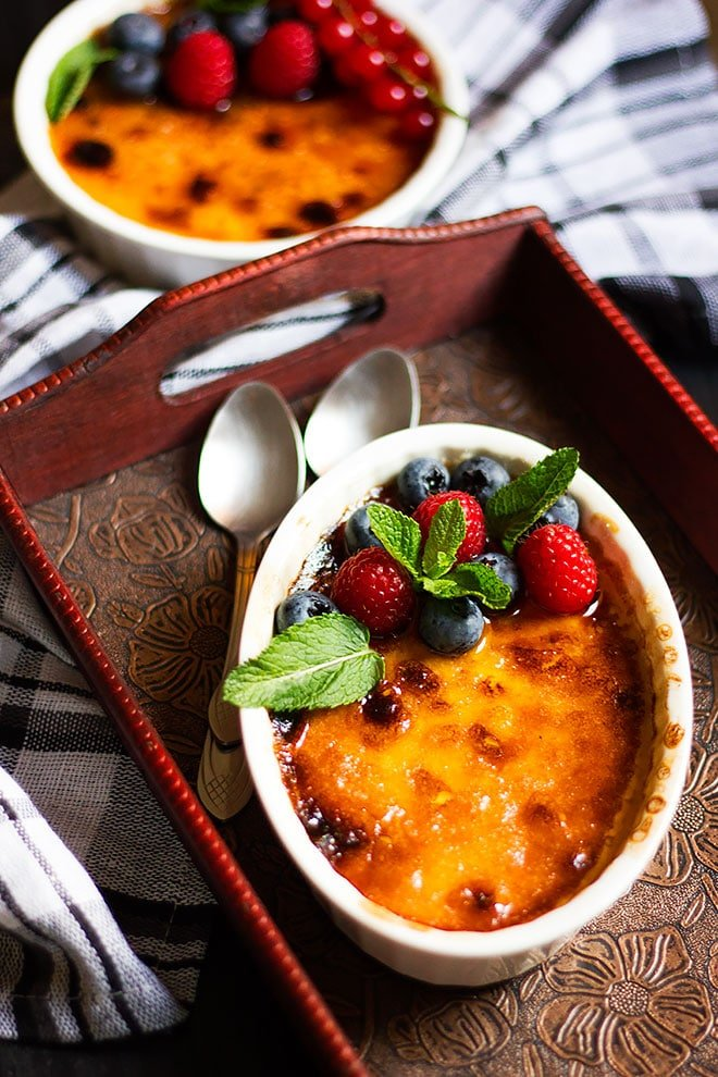 Creme Brulee Served and ready to be eaten.