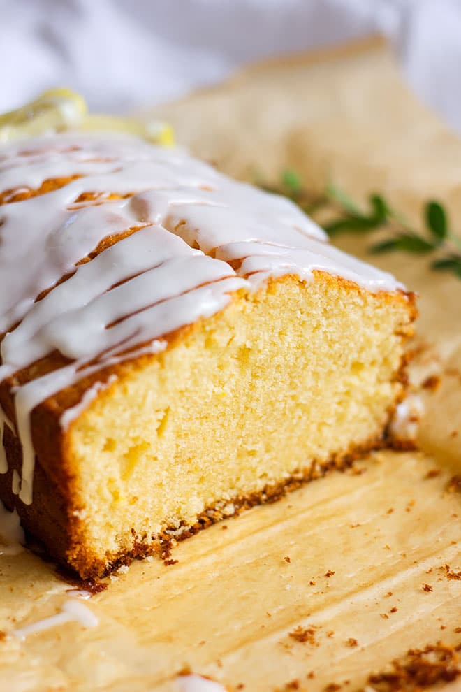 Close up image of lemon pound cake showing tender crumbs.