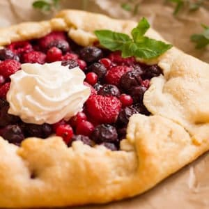 Feature image of berry galette post.