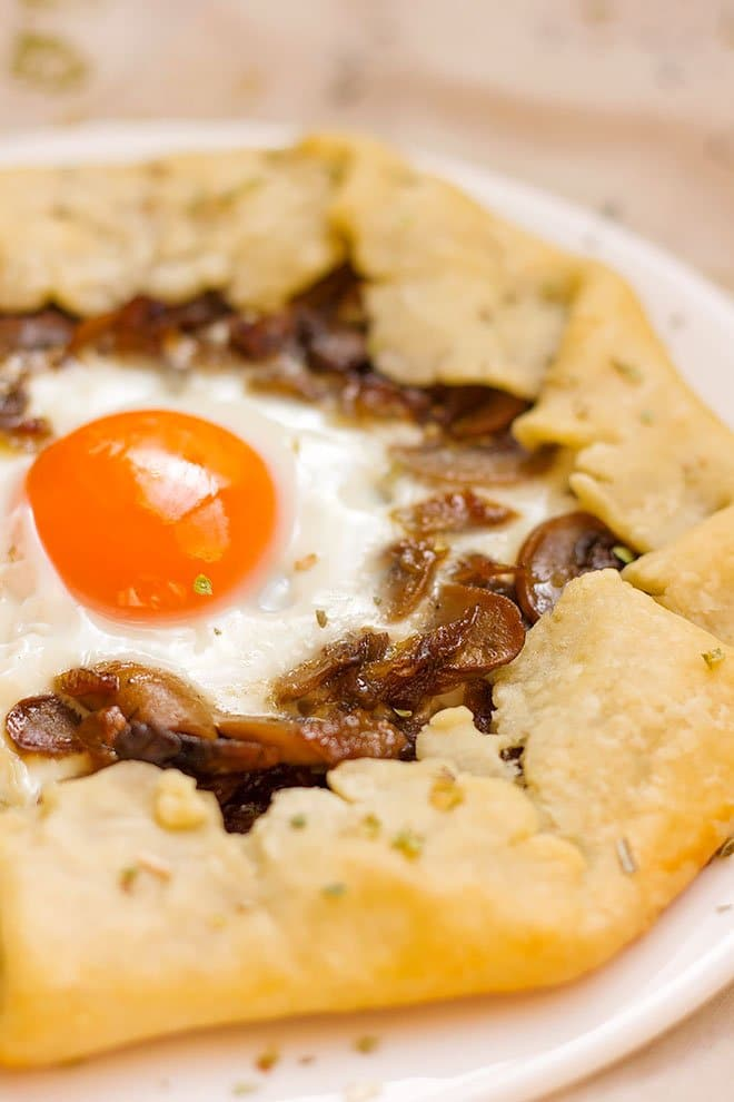 close up shot of mushroom and onion galette recipe.
