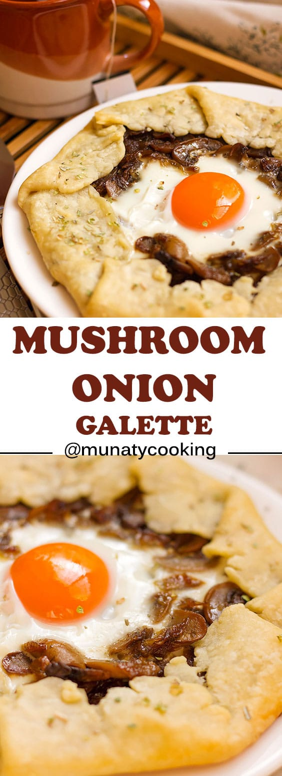Mushroom and onion galette recipe, perfect for breakfast and brunch, convert it into a vegetarian dish by omitting the egg. #breakfast