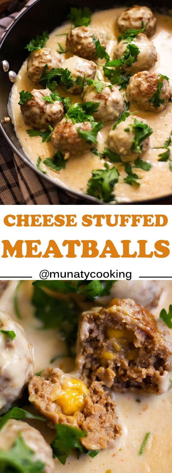 Cheese stuffed meatballs in creamy garlic sauce. juicy meatballs filled with cheddar cheese and is ready in 30 minutes. #meatballs #garlicsauce #meatballrecipe