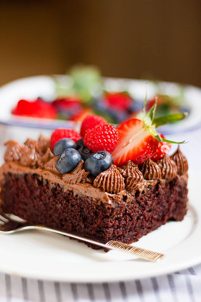 Chocolate cake made without eggs frosted with chocolate.