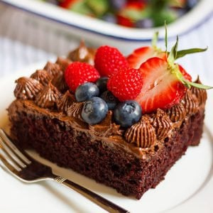 Egg free chocolate cake feature image.