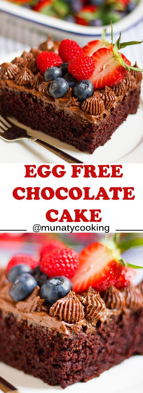 Egg free chocolate cake recipe, this is a recipe for a moist and chocolaty cake, perfect for special occasions, and the post has 9 helpful tips to make a great tasting cake. #cake #eggfreecake #egglesscake #chocolatecake