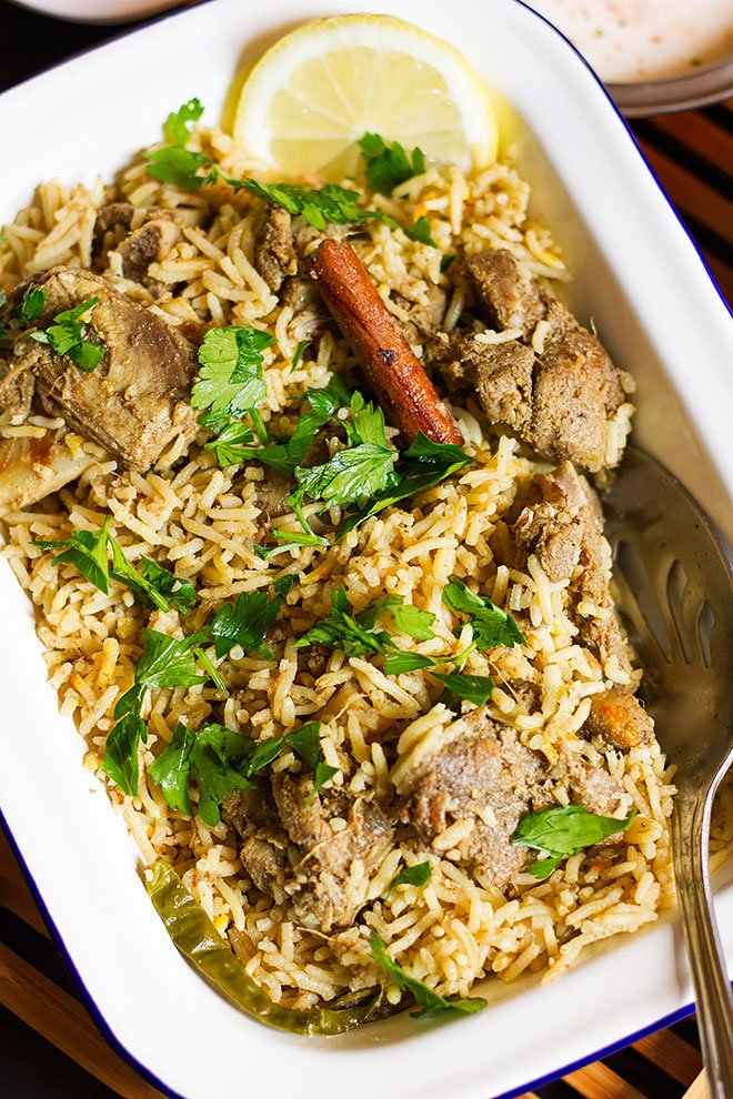 close up image of mutton zafrani pulao.