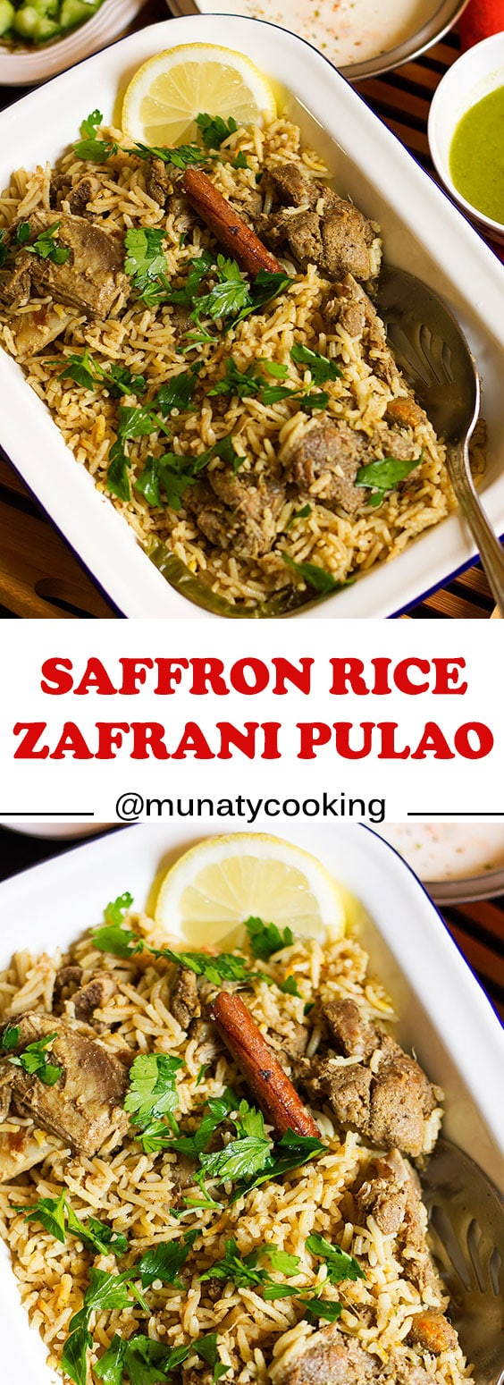 Saffron rice or zafrani rice, and Indian dish made of meat, lamb or beef and aromatic and delicious rice. #indianfood #zafrani pulao #dinner