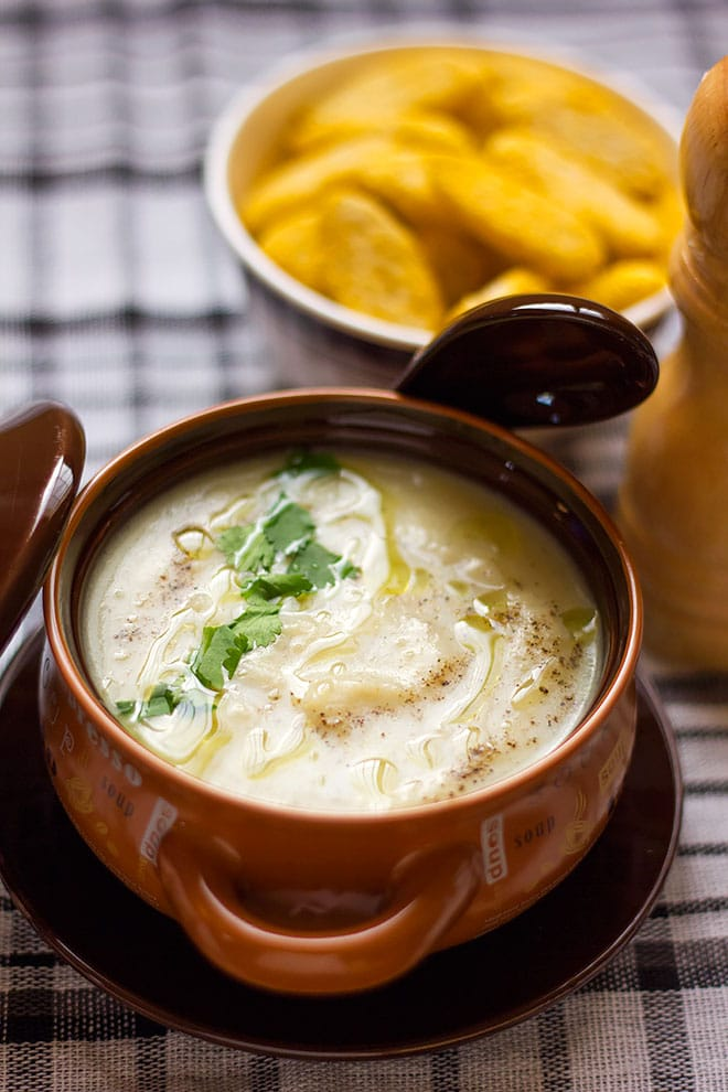 Close up shot of creamy potato soup  in a bowl.