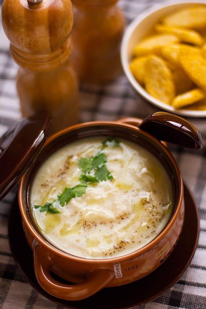 Potato soup served hot in a soup bowl.