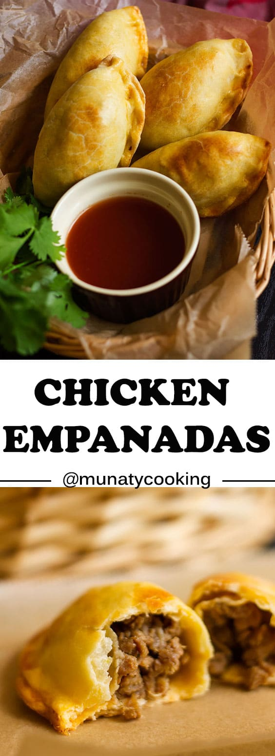 Chicken empanadas recipe, a flaky crust filled with perfectly seasoned ground chicken. #chickenempanadas #empanadas #empanadadough #dough