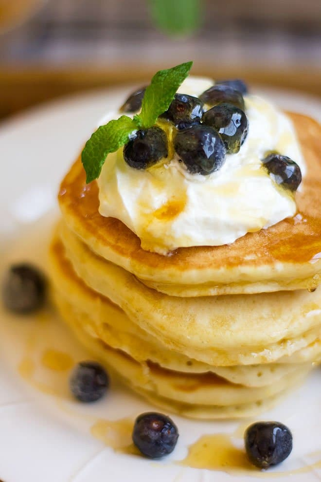 close up shot of Yogurt pancakes.
