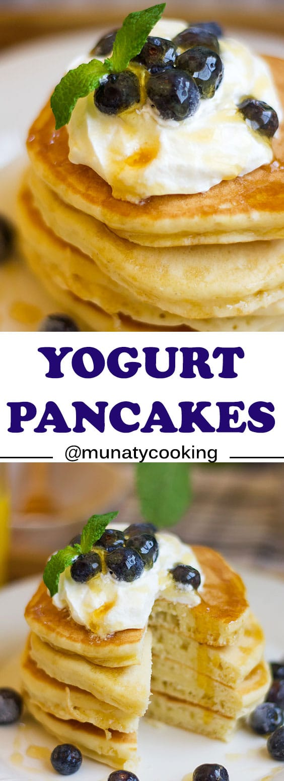 Easy Yogurt Pancake recipe. You can use plain or flavored yogurt for this recipe, the result in light, fluffy, and delicious pancakes that can be served for breakfast or brunch. #pancakerecipe #pancakes #yogurtpancakes #breakfastrecipe