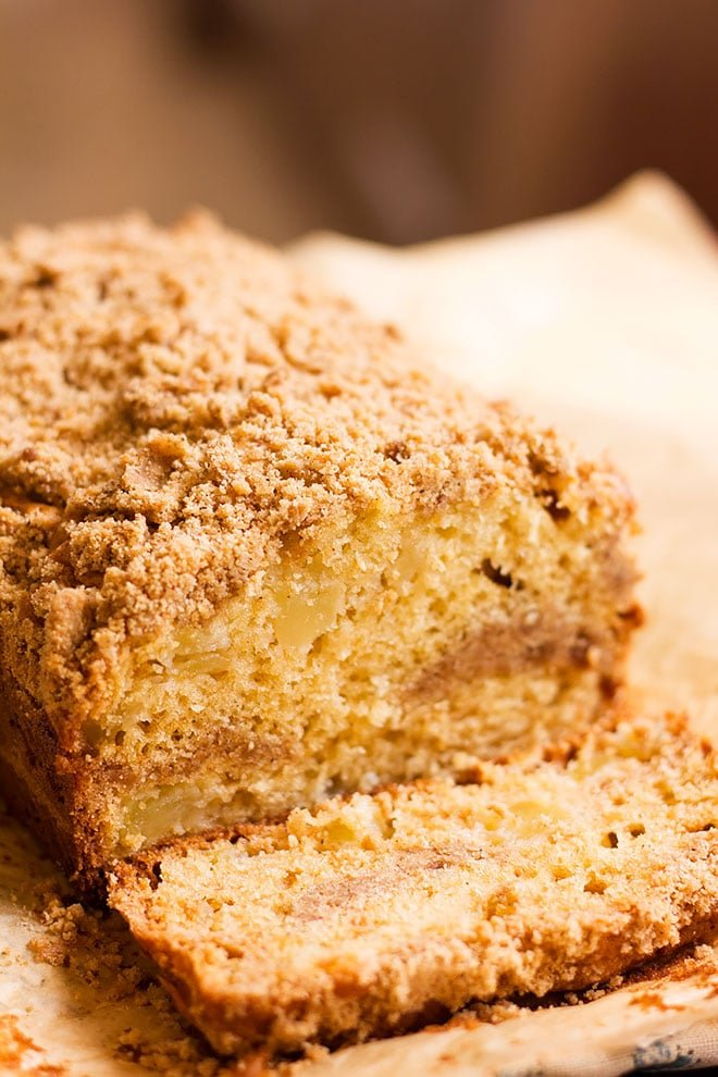 close up photo showing moist crumbs of coffee cake.