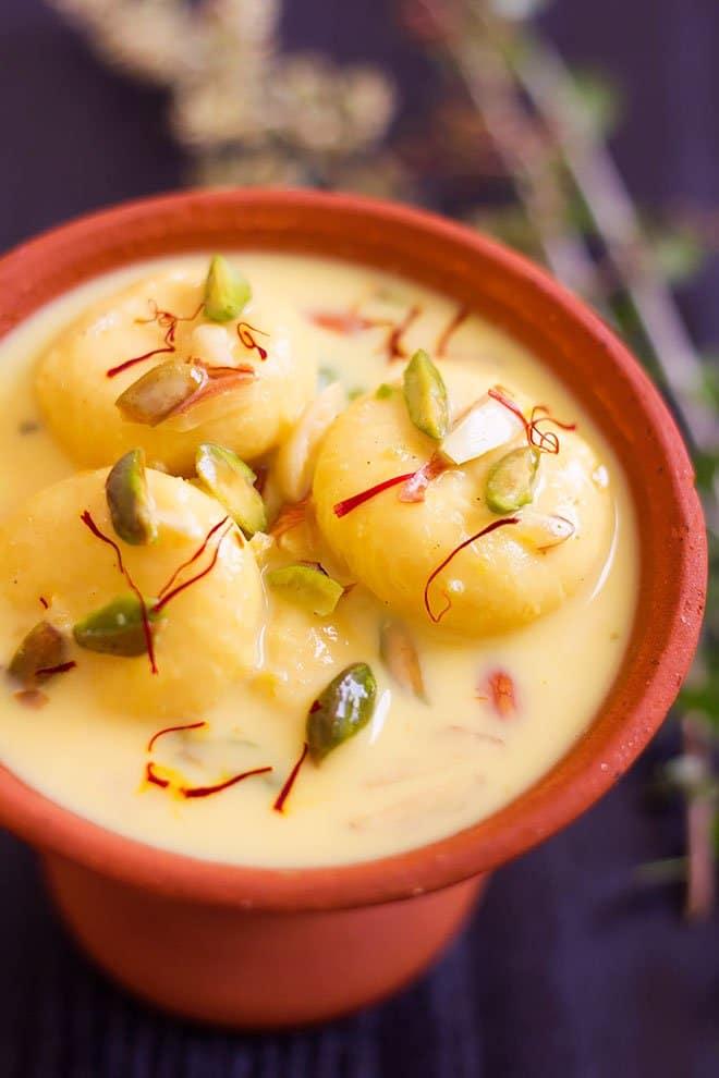 Rasmali served in a brown bowl.